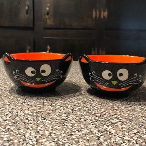 Black cat cereal bowls candy dishes NEW! Halloween